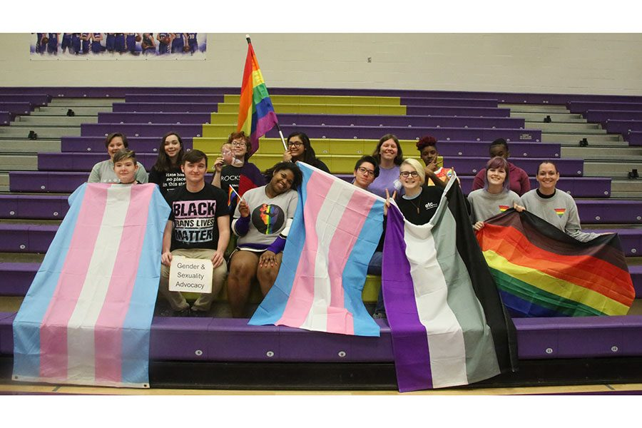 The EHS Gender and Sexuality Alliance club poses for Club Group Shot Day, March 26.