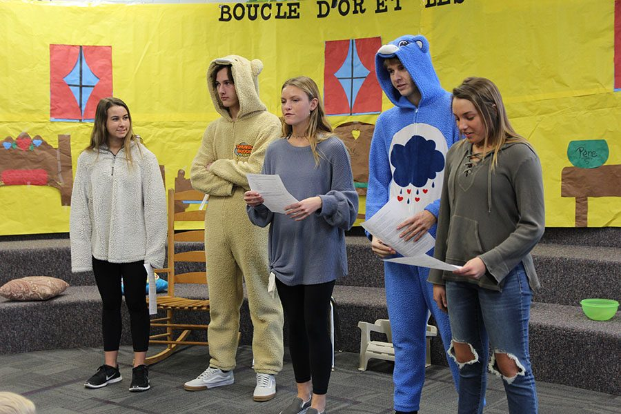 Gwen Kulik (11), Briggs Zaun (11), Mackenzie Burnett (11), Tyler Conley (12) and Hannah Mellor (11) read the lines of their French play at Blevins Elementary, Jan. 29.