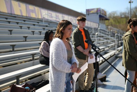 Grace Eickel, organizer, delivers a speech during the EHS walkout, April 20.