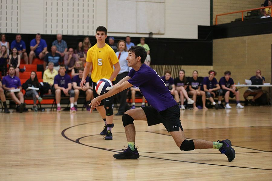 Lucas+Langevin%2C+outside+hitter%2C+scored+several+big+points+for+EHS+throughout+the+night.