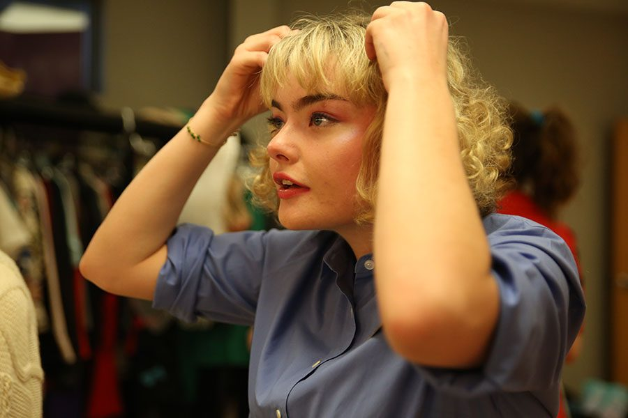Hayley Krey (12) prepares for dress rehearsal for