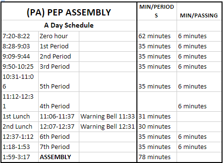 2018 Pep Assembly Schedule
