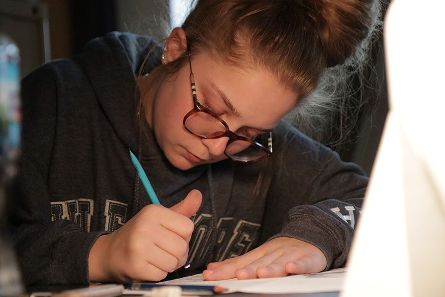 "Erasing her paper, Jessica Smegner (10) works on her still-life project in Kristina Welch's sixth hour Art Fundamentals class, Feb. 21. ""I don't really enjoy art,"" Smegner said. ""I am just taking it because it is required. I like history and science, those are my two favorites. I don't like working on my still-life especially when the lights are off. It makes me tired."""