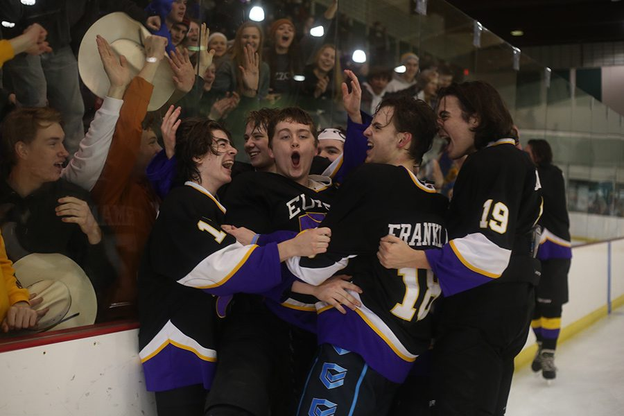 The Eureka Wildcats club hockey team celebrates their defeat of Fort Zumwalt West for the Founders Cup Championship at Queeny Park, Feb. 22. The Wildcats entered the bracket with a 5-15-1 record, but ultimately took the cup with their 6-1 win.