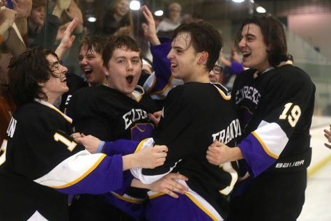 "Founders cup won, Patrick Markovitz, forward, celebrates with the varsity hockey team after the game against Fort Zumwalt West at Queeny Park, Feb. 22. This is the first time Eureka hockey has ever won any championship. ""It was magical to win,"" Markovitz said. ""We have been to many competitions, but we typically lose because those are difficult. We knew we could win and then we just ran with that. Our season wasn't great. We eventually just lost all our shame and threw everything into winning."" The Wildcats won, 6 to 1."