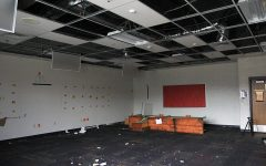 An empty classroom holds nothing but dust and a desk, March 15. The classroom will be demolished, Friday, March 15.