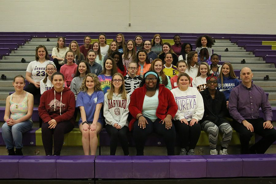 Treble Chorale poses for Club Group Shot day in Gym A, March 26, 2018.