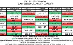 End-of-course exams will begin Tuesday, April 16 and run through Thursday, April 25.
