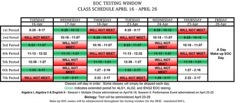 End-of-course exams will begin Tuesday, April 16 and run through Thursday, April 25.