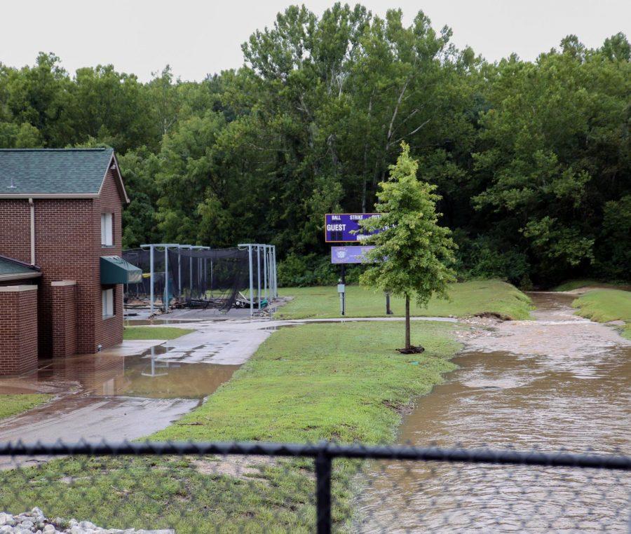 The practice football fields, baseball and softball fields all flooded, Aug. 26.