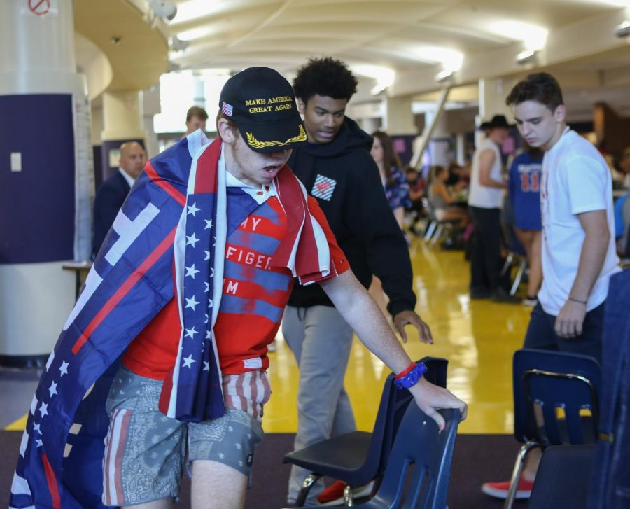 Will Brickman (11) races to get to a chair during the first Spirit Competition, Monday, Sept. 23.