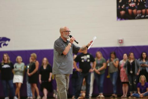 Principal Charlie Crouther addresses EHS during an assembly, Sept. 6.