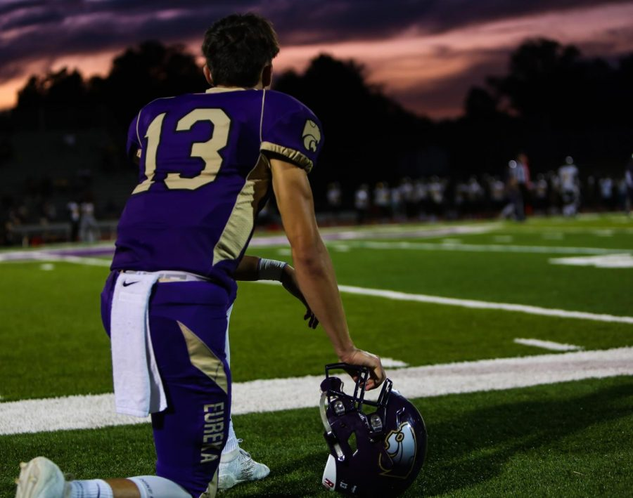 Carter Davis, quarterback, reflects on the game near the end of the Eureka football game against Hazelwood Central, Sept. 13.