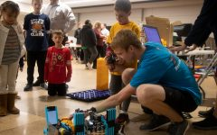 The Bosons demonstrate their robot at Eureka Elementary Stem Night, Nov. 19.