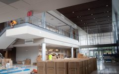 Construction comes to an end in the main entrance of the STEM building, August 11.