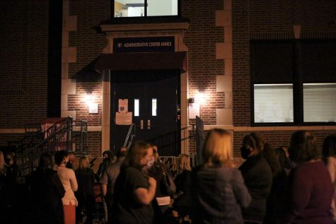 A group of teachers gathered outside of the Rockwood Administrative Annex to show their concerns regarding in-person learning, Nov 5.
