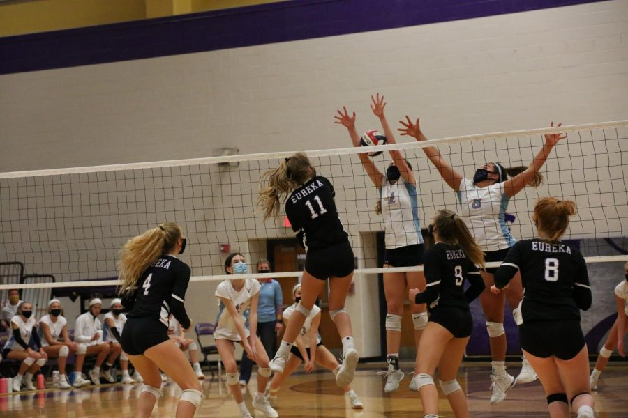 Mia Berg jumps up to spike the ball during a game against Parkway West, Oct 13.